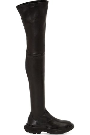 Alexander McQueen Women Thigh High Boots - 45mm Tread Leather Over-the-knee Boots