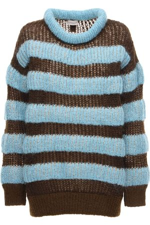Moncler Genius Women Sweaters - Striped Mohair Blend Knit Sweater