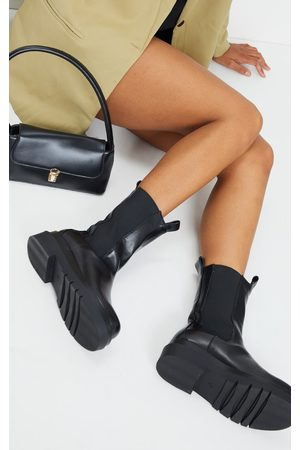 PRETTYLITTLETHING Calf High Chunky Chelsea Boot