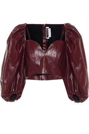 ROTATE Irina faux-leather top
