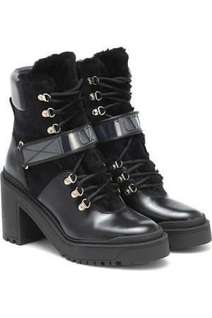 VALENTINO GARAVANI Trekkgirl leather and shearling ankle boots