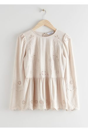 & OTHER STORIES Embroidered Scallop Peplum Blouse