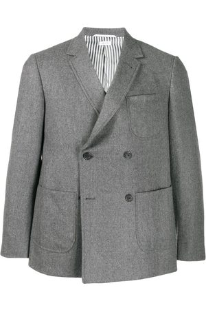 Thom Browne Men Blazers - Double-breasted flannel sack jacket - Grey
