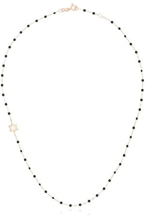 GIGI CLOZEAU 18kt rose gold diamond star beaded necklace