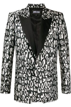 Roberto Cavalli Leopard-print tuxedo jacket