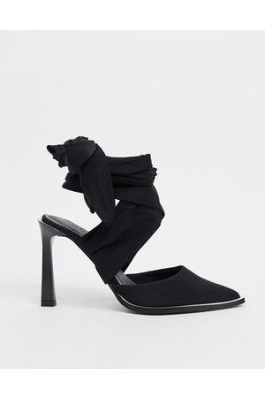 ASOS Pine tie leg high shoes in