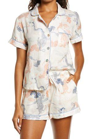 The Lazy Poet Women's Nina Peking Tiger Linen Short Pajamas