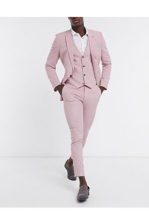 ASOS Wedding super skinny suit pants in rose cross hatch