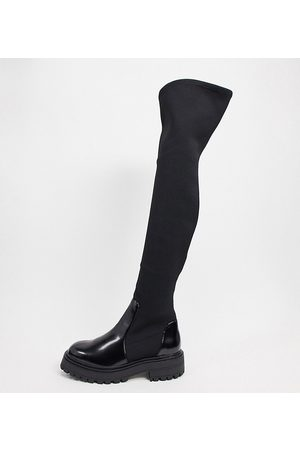 ASOS Wide Fit Keeley chunky flat knee boots in