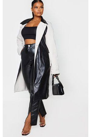 PRETTYLITTLETHING Women Trench Coats - Plus Stone PU Panelled Trench Coat