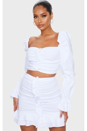 PRETTYLITTLETHING Woven Stretch Frill Ruched Front Mini Skirt