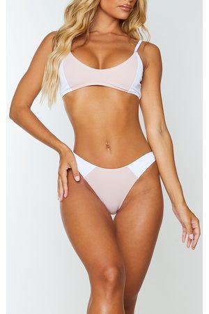 PRETTYLITTLETHING Ribbed Two Tone Scoop Neck Bikini Top