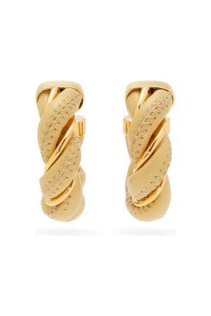 Bottega Veneta Twisted Leather & 18kt Gold-plated Hoop Earrings - Womens