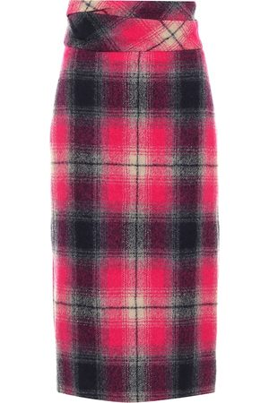 DRIES VAN NOTEN High-rise checked wool midi skirt