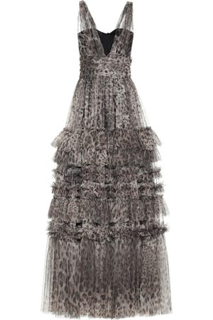 Dolce & Gabbana Leopard-print tiered tulle gown