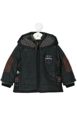 Lapin House Puffer Jackets - Check print hooded jacket