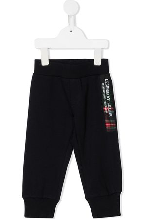 Lapin House Plaid logo patch pull-on trousers