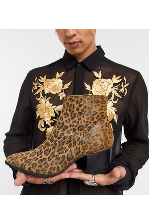 ASOS Wide Fit heeled chelsea boots with pointed toe in leopard print