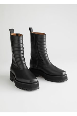 & OTHER STORIES Square Toe Leather Biker Boots