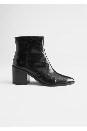 & OTHER STORIES Croc Embossed Leather Ankle Boots
