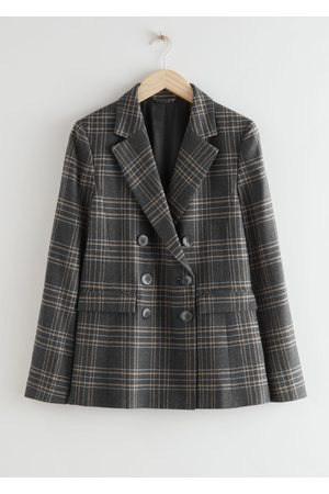 & OTHER STORIES Wool Blend Plaid Blazer - Grey