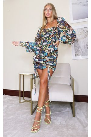PRETTYLITTLETHING Multi Floral Leopard Print Chiffon Long Sleeve Ruched Skirt Bodycon Dress