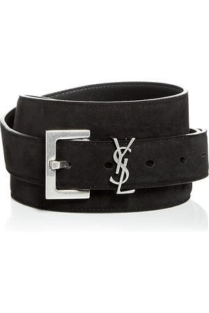 Saint Laurent Men's Milo Logo Suede Belt