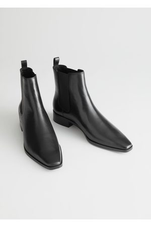 & OTHER STORIES Square Toe Leather Chelsea Boots