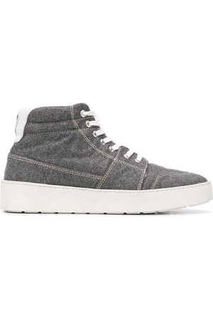 Ami Sneakers - High top leather-trimmed sneakers - Grey