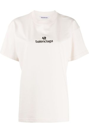 Balenciaga Women Short Sleeve - Logo print short-sleeved T-shirt - Neutrals