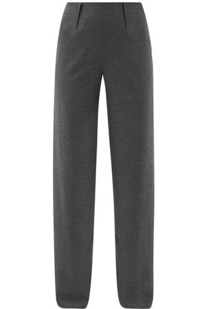 Altuzarra Luther Wool-blend Wide-leg Trousers - Womens - Grey