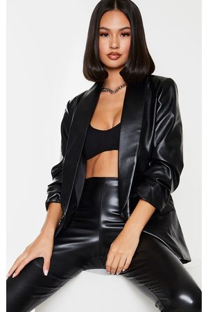 PRETTYLITTLETHING PU Lapel Long Line Ruched Sleeve Blazer