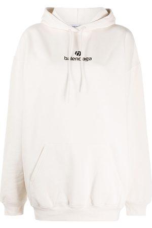 Balenciaga Logo print cotton hoodie - Neutrals