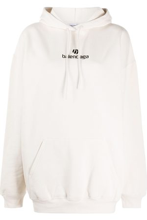 BALENCIAGA Women Hoodies - Logo print cotton hoodie - Neutrals