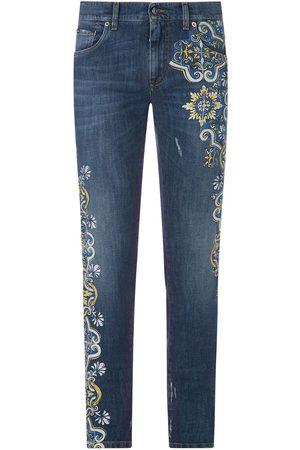 Dolce & Gabbana Tile-print slim-fit jeans