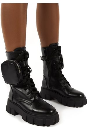 Public Desire US Intention Wide Fit Chunky Sole Pouch Ankle Boots - US 5