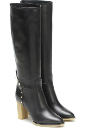 VALENTINO GARAVANI Rockstud leather knee-high boots