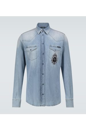 Dolce & Gabbana Straight-fit denim shirt with logo
