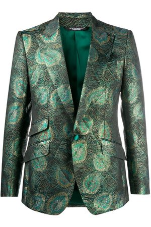Dolce & Gabbana Feather jacquard single-breasted blazer