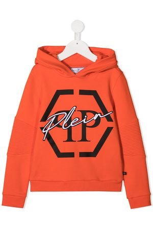Philipp Plein Boys Hoodies - Hexagon logo-print hoodie
