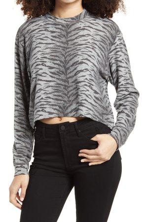BLANK NYC Women's Tiger Print French Terry Crop Sweatshirt