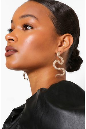 Boohoo Womens Textured Snake Statement Earrings - - One Size