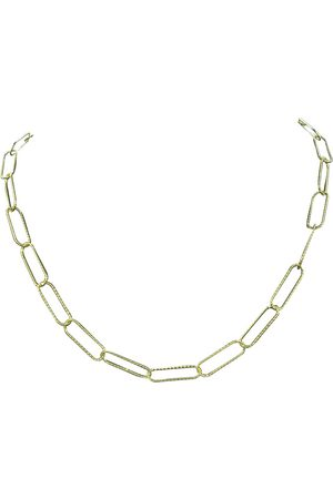 SuperJeweler 14K (5.90 g) Over Sterling Silver Textured Paperclip Chain Necklace