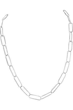 SuperJeweler 925 Sterling Textured Paperclip Chain Necklace