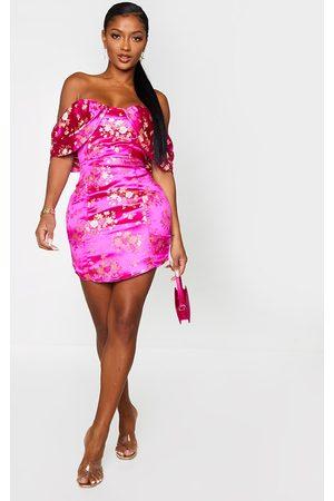 PRETTYLITTLETHING Shape Magenta Floral Bardot Bodycon Dress