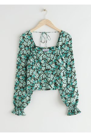 & OTHER STORIES Ruffled Cuff Button Up Top - Turquoise