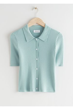 & OTHER STORIES Women Tops - Fitted Button Up Knit Top - Turquoise