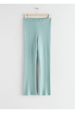 & OTHER STORIES Fitted Ribbed Knit Trousers - Turquoise