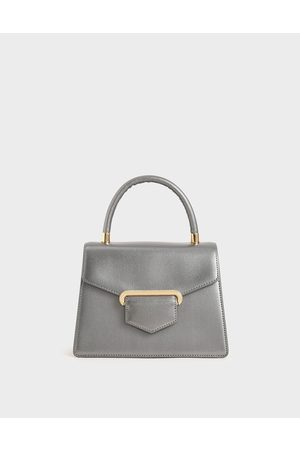 CHARLES & KEITH Women Purses - Leather Metallic Accent Handbag