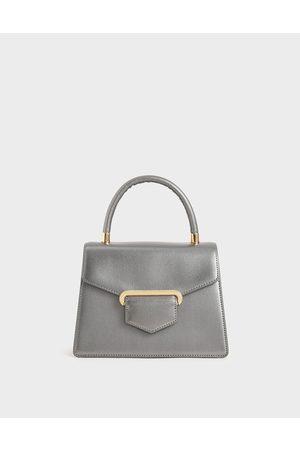 CHARLES & KEITH Women Purses - Leather Metallic Accent Handbag